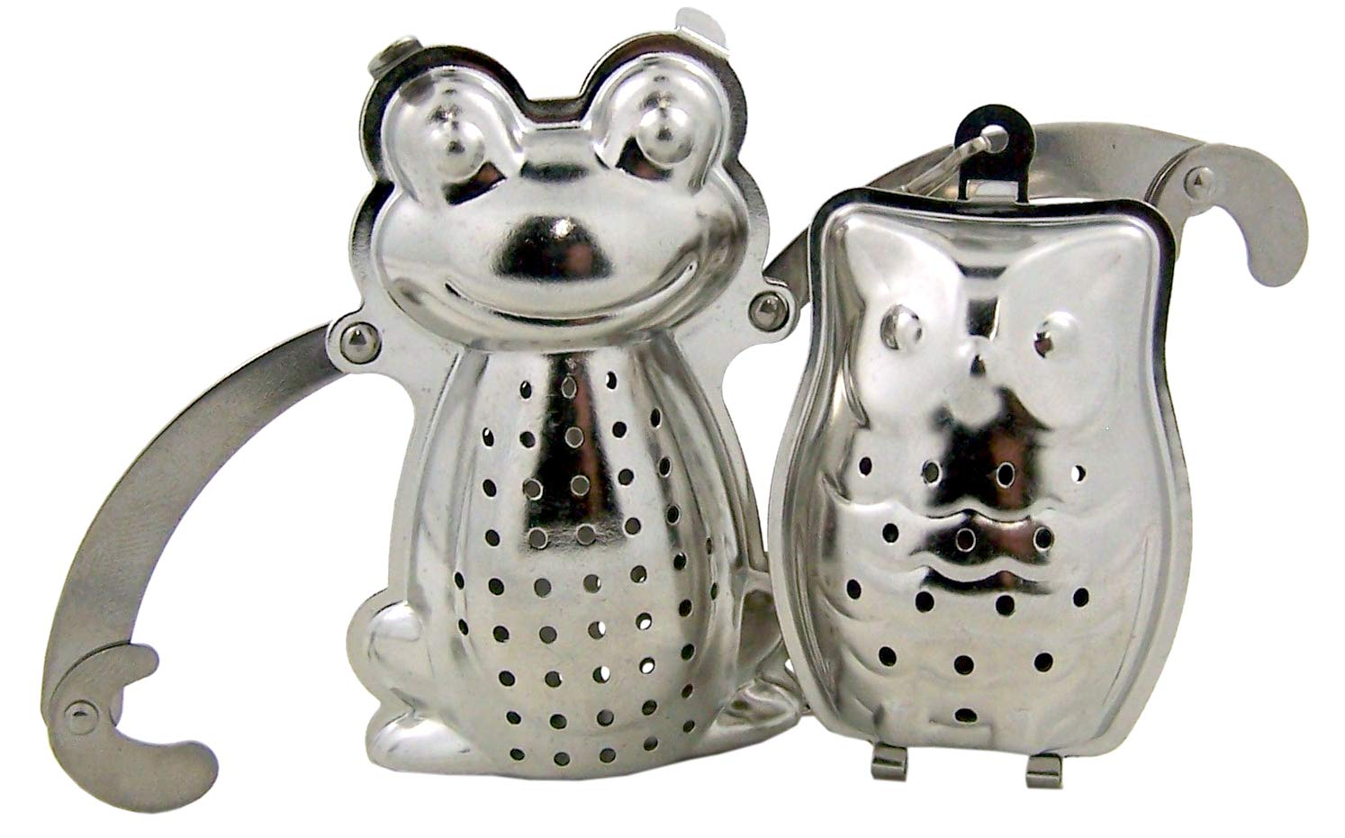 Stainless Steel Frog and Owl Loose-Leaf Tea Infusers, Pack of 2, 2 1/2 Inches