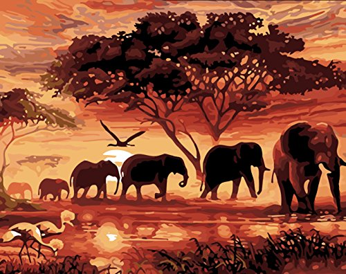 TianMai Hot New DIY 5D Diamond Painting Kit Crystals Diamond Embroidery Rhinestone Painting Pasted Paint By Number Kits Stitch Craft Kit Home Decor Wall Sticker - Sunset Tree Africa Elephant , 30x25cm