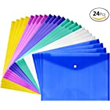 JUSLIN 24 pcs Waterproof Transparent Poly Envelope with Snap Button Closure,Project Envelope Folder, A4 Letter Size,6 assorted Colors,blue, transparent, green, purple, pink, yellow