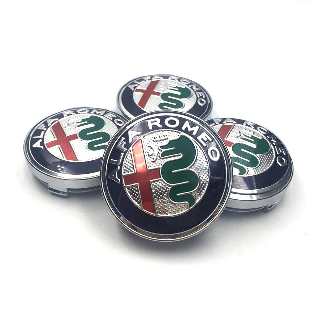 HANWAY 4/Pcs 60/mm 6/cm Centre de Bouchon de moyeu de Roue Alfa Romeo Coque Alfa Romeo Embl/ème Badge Autocollant Chrome