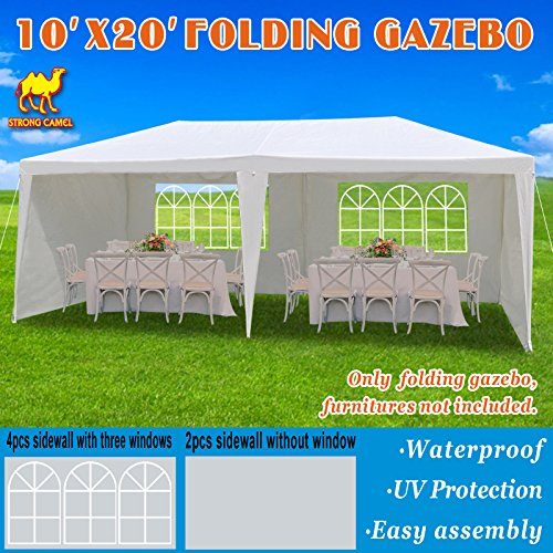 Strong Camel 10′ X 20′ White Party Tent Gazebo Canopy with Sidewalls