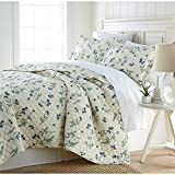 2 Piece Off White Blue Green Twin/ Twin XL Quilt Set, Floral Themed Bedding Garden Flower Pattern Trendy Chic Modern Stylish Elegant French Country Paisley Sleek Luxurious, Sateen Cotton
