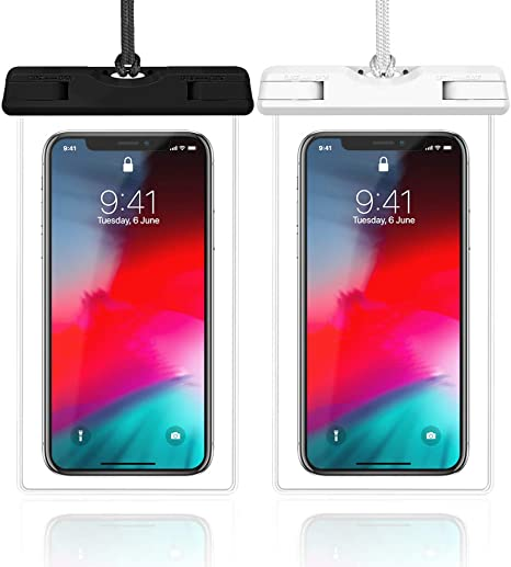 Black White Blue Pink Samsung Galaxy S9 S8 S7 S6 4 Pack Veckle Floating Waterproof Cell Phone Pouch Universal TPU Clear Water Proof Dry Beach Bag for iPhone X 8 7 6S 6 Plus Waterproof Case Note 5
