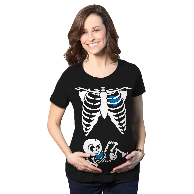 eaa854b36bf72 Crazy Dog T-Shirts Maternity Baby Boy Skeleton Cute Pregnancy Bump Tshirt  at Amazon Women's Clothing store: