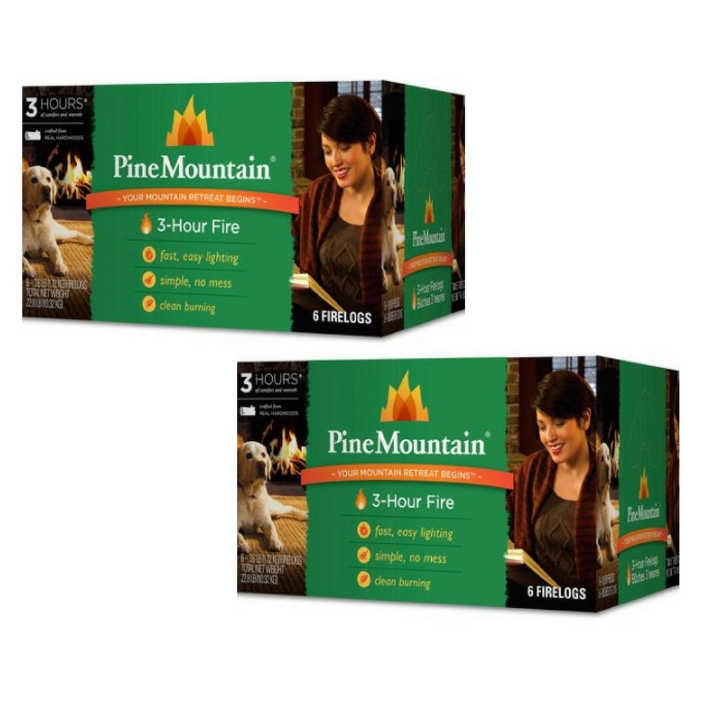 Pine Mountain 6-Pack, 3-Hour Firelogs, Easy Lighting - 2 count by Pine Mountain