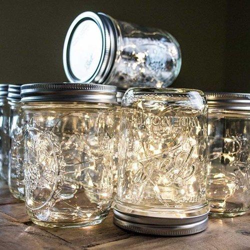 Mason Jar Fairy Lights, 16 Ounce Wide Mouth, Warm White Lights, Set of 12