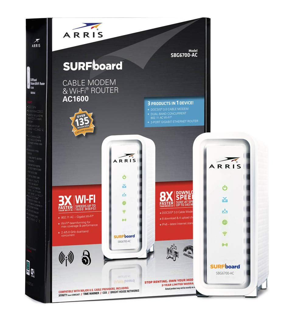 ARRIS SURFboard SBG6700AC DOCSIS 3.0 Cable Modem/ Wi-Fi AC1600 Router - Retail Packaging - White, Model: SBG6700AC, Electronic Store & More by Electronics World