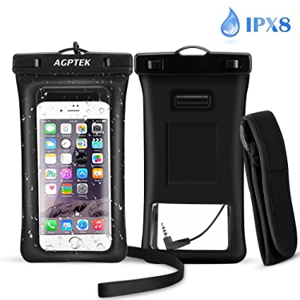 size 40 dc2bd 396e0 AGPTEK Waterproof Phone Case with Audio Jack, IPX8 Underwater Phone Pouch  Floatable Dry Bag with Armband for iPhone X, 8 Plus, 8, 7 Plus, 7, 6s, 6,  ...