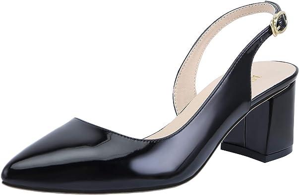 new WOmen/'s Med Block Heel Slingbacks Slip On Sandals Pumps Leather Shoes US 5-8