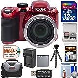 KODAK PIXPRO AZ421 Astro Zoom Digital Camera (Red) with 32GB Card + Case + Battery/Charger + Flex Tripod + Kit