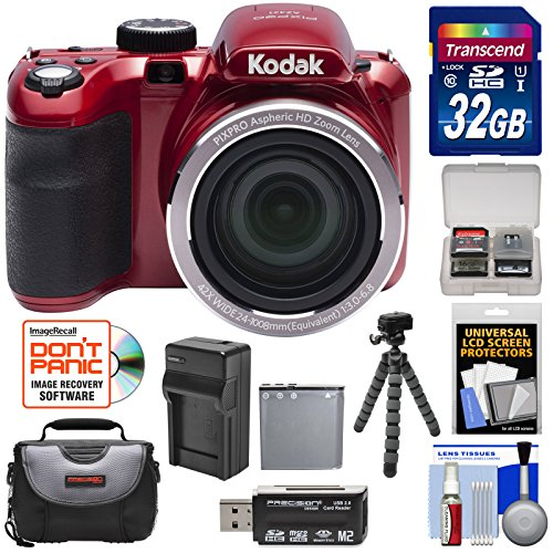 Kodak PIXPRO AZ421 Astro Zoom Digital Camera (Red) 32GB Card + Case + Battery/Charger + Flex Tripod + Kit