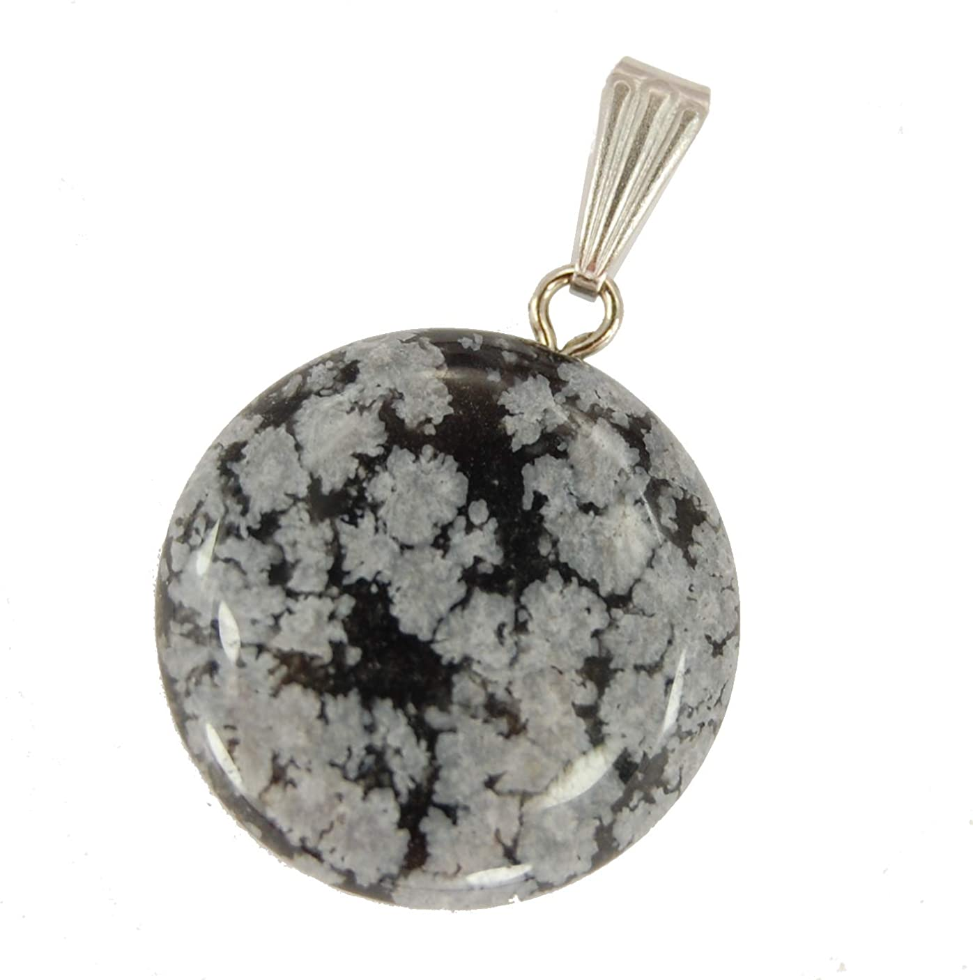 Heart Pendant Necklace Carved Snowflake Obsidian stone Necklace