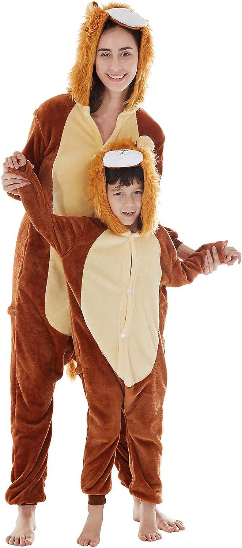 Pigiama Costume Animali in Pile Flanella da casa Morbido e Comodo Pigiama Uomo Donna Bambino Ragazza