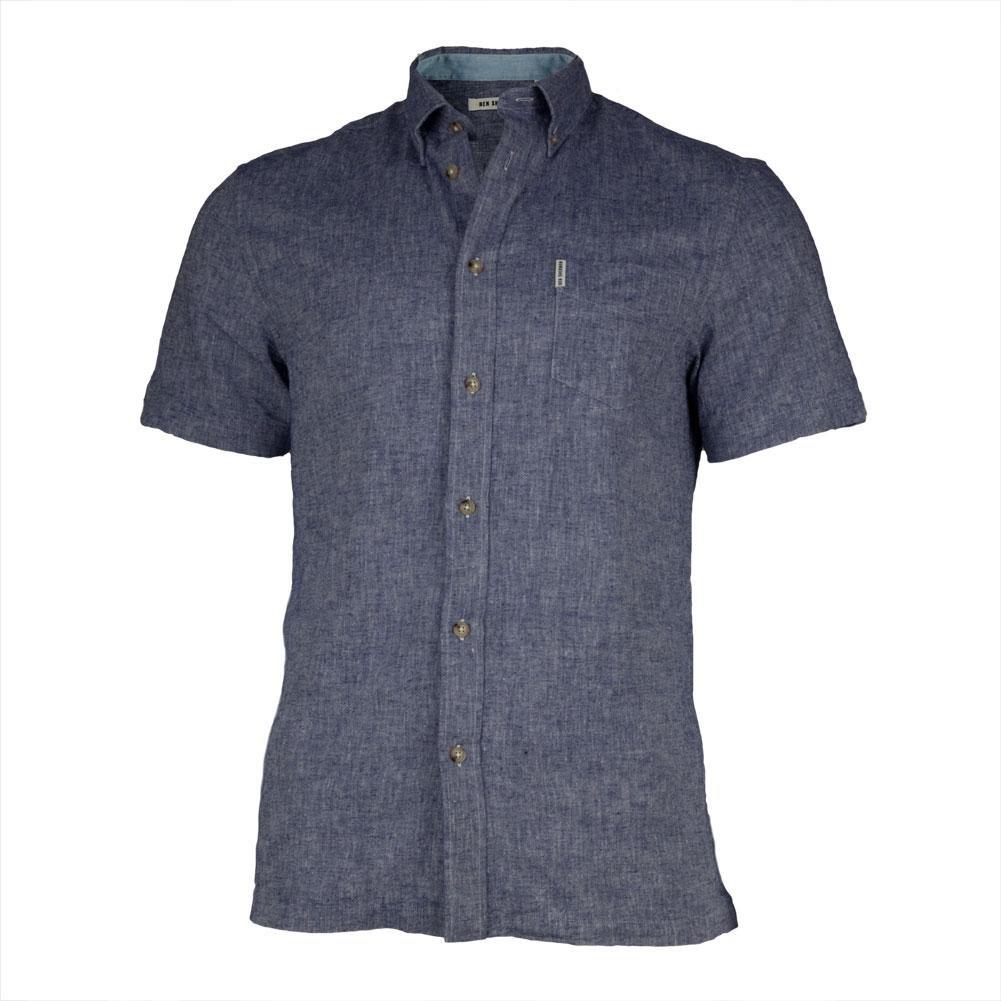 Ben Sherman Men's Short Sleeve Linen Button-Down Shirt, Navy Blazer, Large