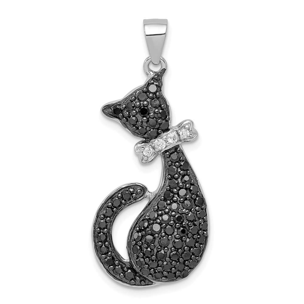 Jewelry Stores Network Black and White CZ Cat with Bow Pendant in 925 Sterling Silver 35x15mm