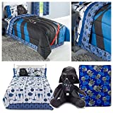Disney Star Wars Kids Twin Bedding - Reversible Comforter, Sheet Set with Reversible Pillowcase, Ultra Soft Throw Blanket and Darth Vader Pillow Buddy