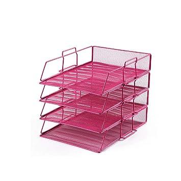 Whchiy - Organizador de escritorio de 4 niveles, bandejas de correo de papel desmontables, diseño de malla de hierro, ventilado, color rosa rojo: Amazon.es: ...