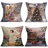 Usstore 4PCS Merry Christmas Pillowcases Cover Home Decoration for Cafe Living Sofas Beds Room