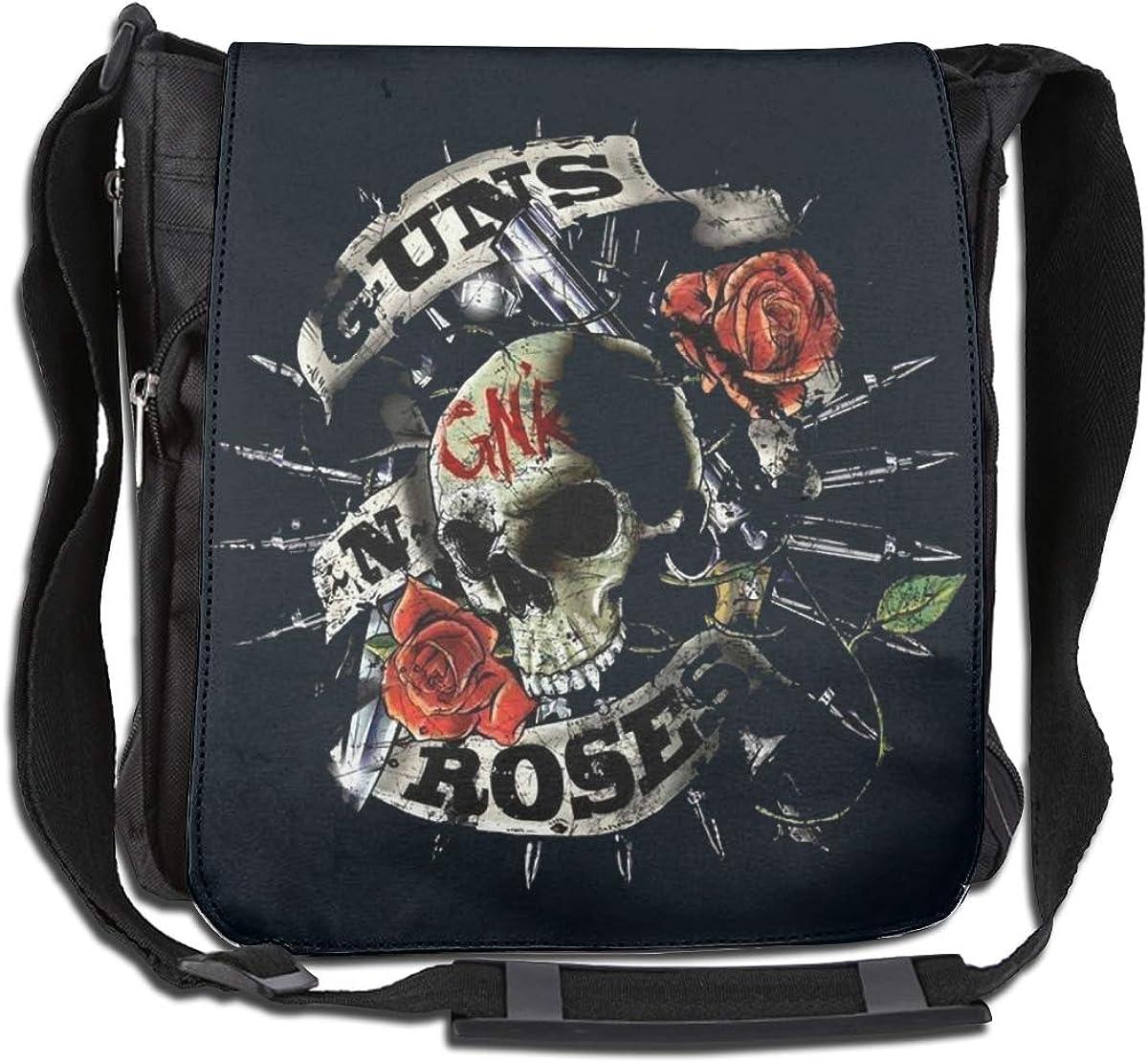 Skull Guns N Roses Rock Band Logo Crossbody Bag Shoulder Bags Backpack College Bookbag Travel Outdoor Daypack For Women Men