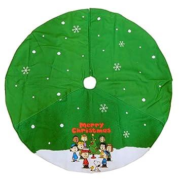 Peanuts Green Christmas Tree Skirt Charlie Brown & Snoopy Holiday Decor - Amazon.com: Peanuts Green Christmas Tree Skirt Charlie Brown