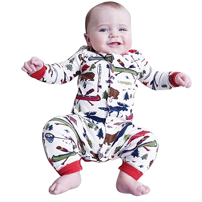 db19c0238 Hot Sale 0-18 Months Newborn Infant Baby Boys Girls Romper Cartoon Letter  Print Button Jumpsuit Pajamas Outfits: Amazon.ca: Clothing & Accessories