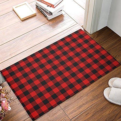 Non-Slip Outdoor/Indoor Thin Doormat, 23.6x15.7 -Inch Entry Way Shoes Scraper Patio Rug - Rustic Red Black Buffalo Check Plaid Pattern Tuklye