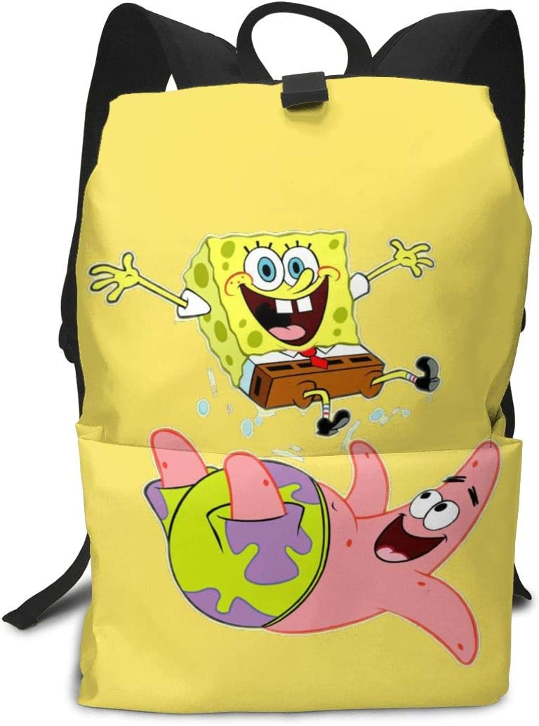 JacobCloe Men's Happy Spongebob And Patrick Solid And Wear Resistant Fashion Backpack For Tourism 61Rxg4rC0JL
