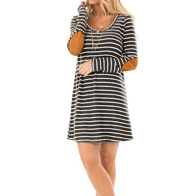 Vestiti Lungo Donna Elegante LandFox Sexy Mini abito da donna a maniche  lunghe in patchwork a maniche lunghe con scollo a barchetta elegante mare  costumi ... 02791ff07f0