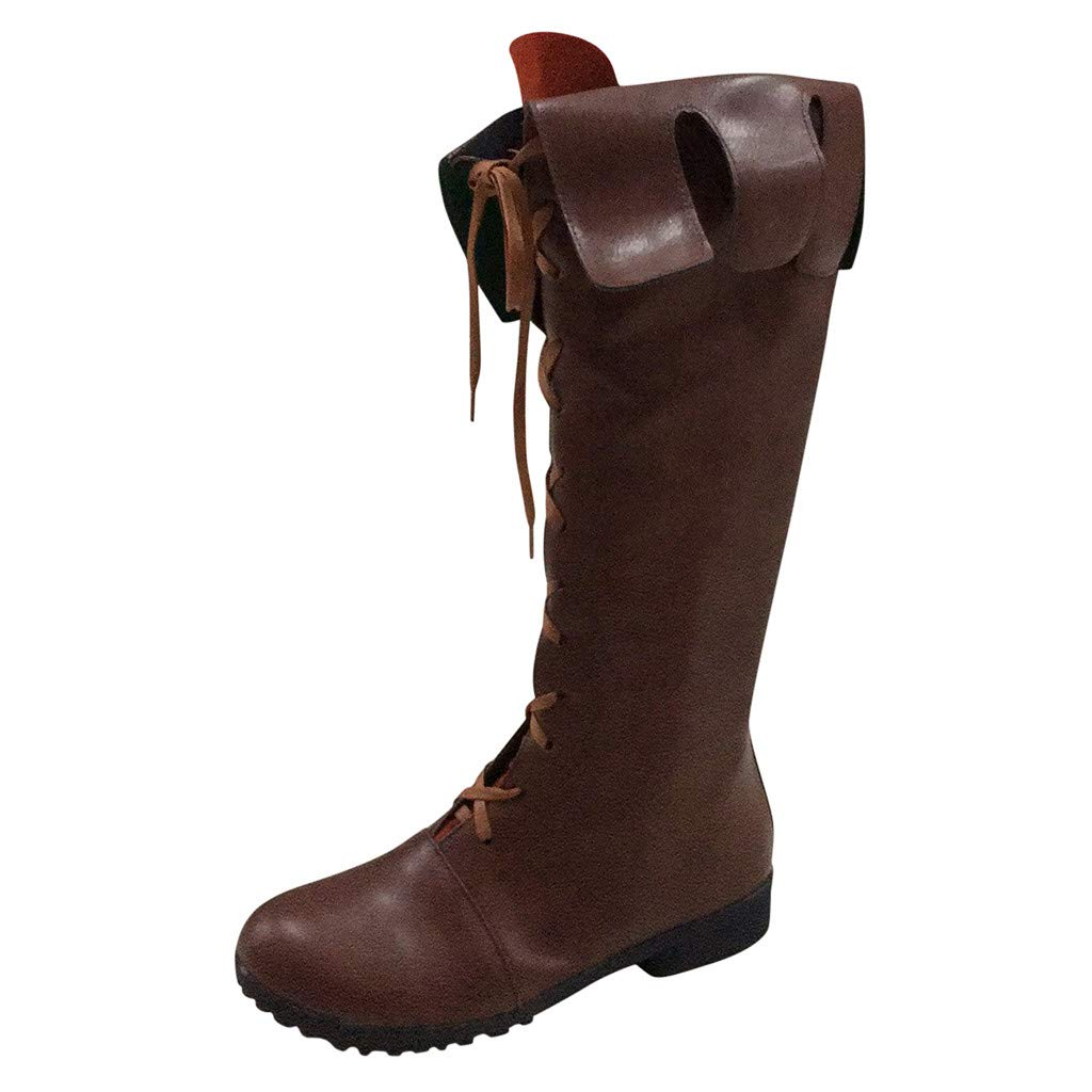 Women's Biker Short Boots,Ladies Zipper Lace Up Motorcycle Flat Retro Middle-Tube Ankle Boot Shoe by cobcob Clearance Shoes