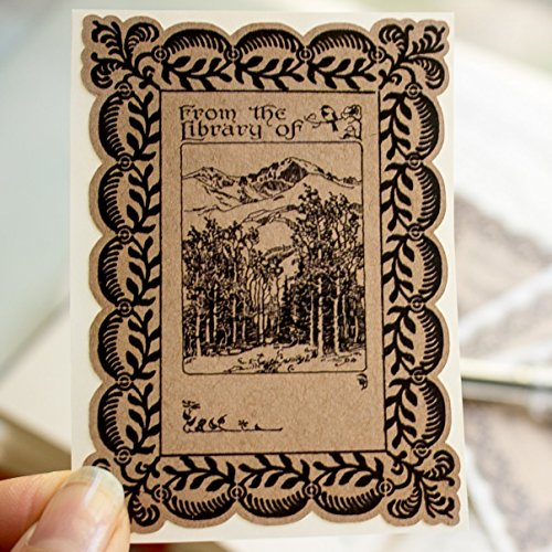 Mountain Forest Bookplate Stickers gift for bibliophile book labels set of 20