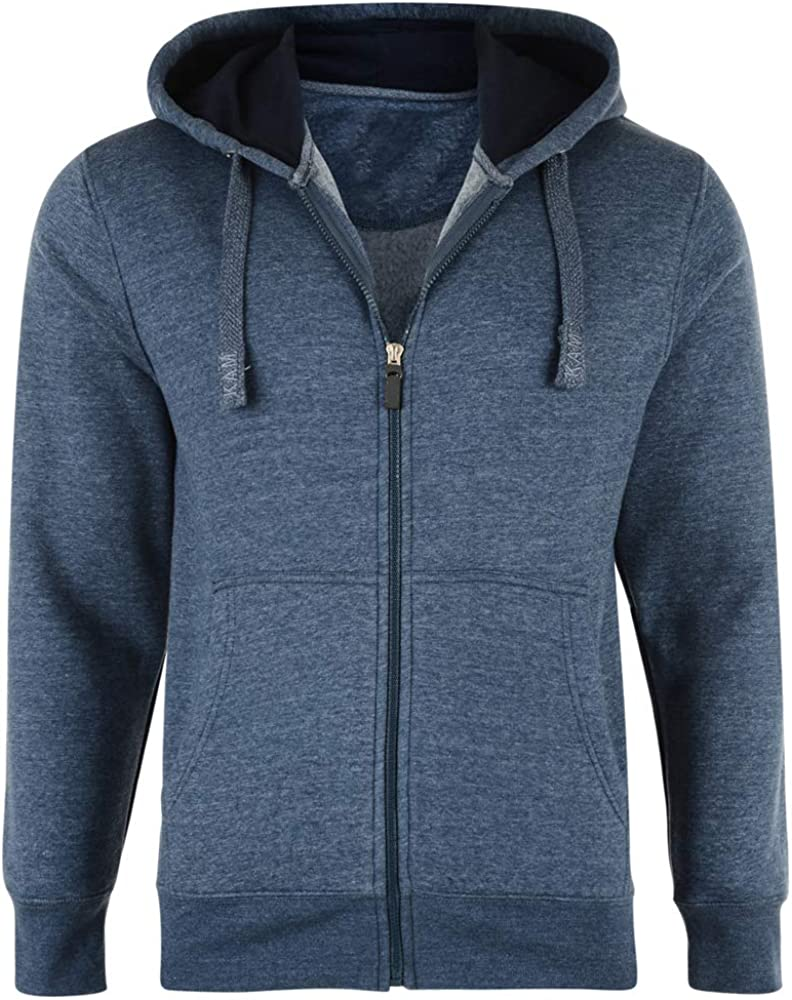Anti-Pill Polyester Cotton Blend 2XL-8XL Fenside Country Clothing Mens Plus Size Full Zip Extra Length Hooded Sweatshirt