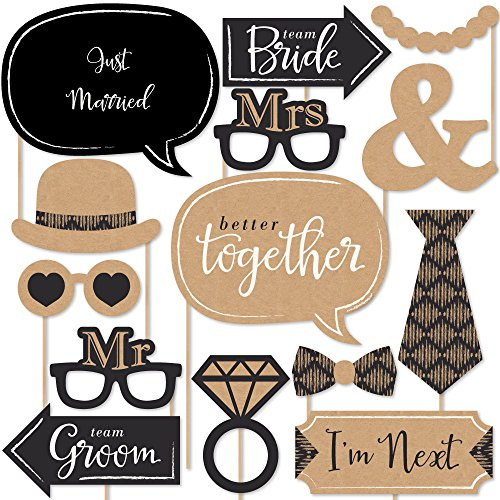 Big Dot of Happiness Better Together - Wedding Photo Booth Props Kit - 20 Count