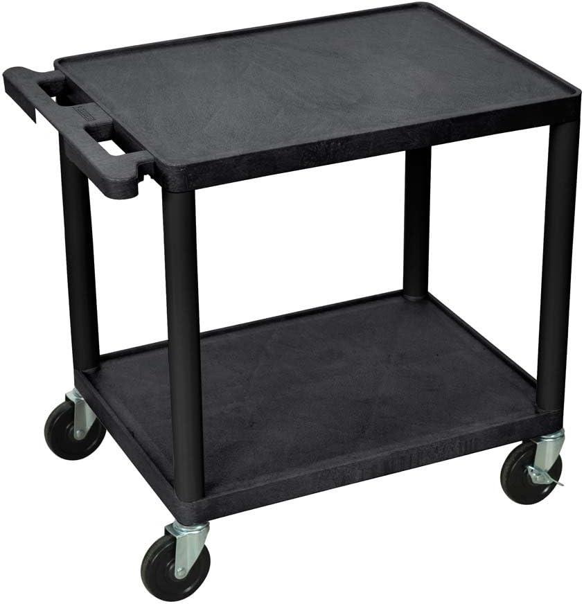 Luxor 26 H Mobile Multipurpose Plastic Storage Utility AV Cart with 2 Shelves – Black