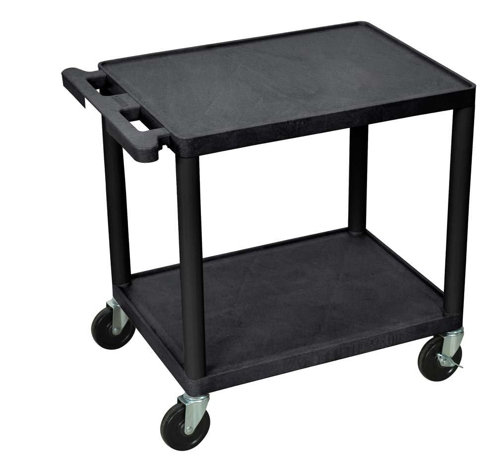 Luxor 26'' H Mobile Multipurpose Plastic Storage Utility AV Cart with 2 Shelves - Black by Luxor