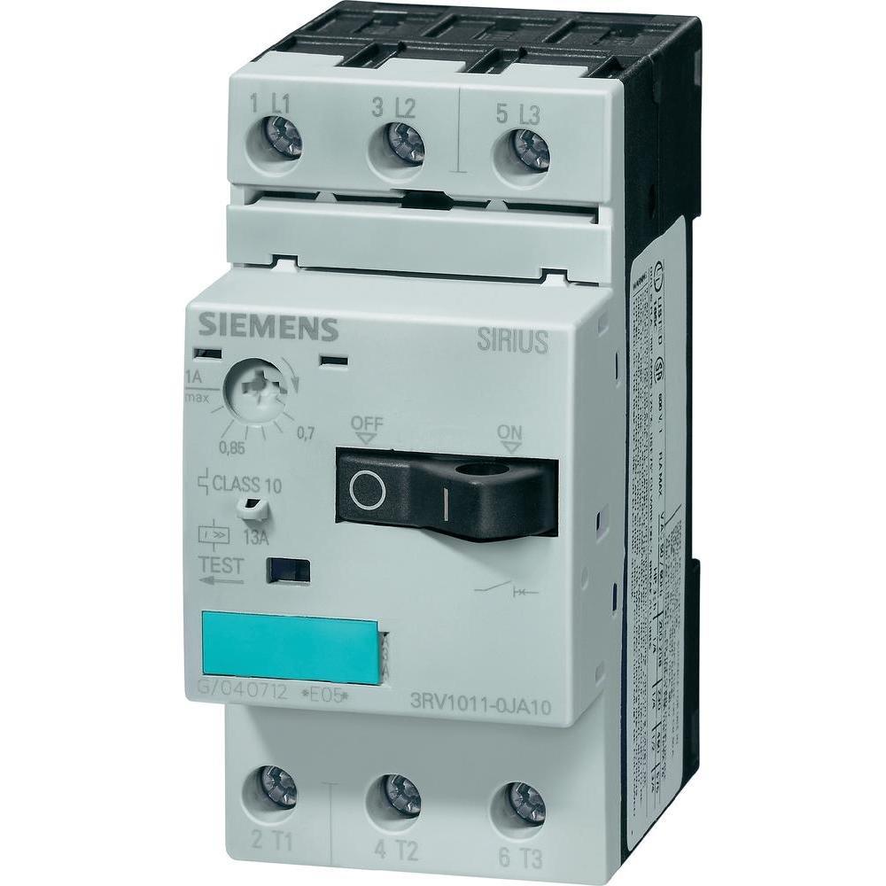 Siemens 3RV1011-1DA10 Motor Starter Protector, Screw Connection, 3RV101 Frame Size, 2.2-3.2 FLA Adjustment Range, 42A Instantaneous Short Circuit Release, 65kA UL Short Circuit Breaking Capacity at 480V 3RV10111DA10