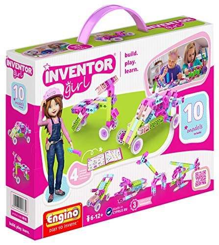 Engino Inventor Girl 10, STEM Model Construction System, Build Stem Skills, 75 Parts, Parts Separating Tool Included, ENG-IG10 -
