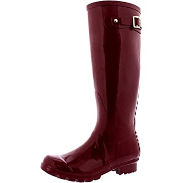 Womens Original Tall Gloss Winter Waterproof Wellies Rain Wellington Boots - 8 - BUR39 BL0043
