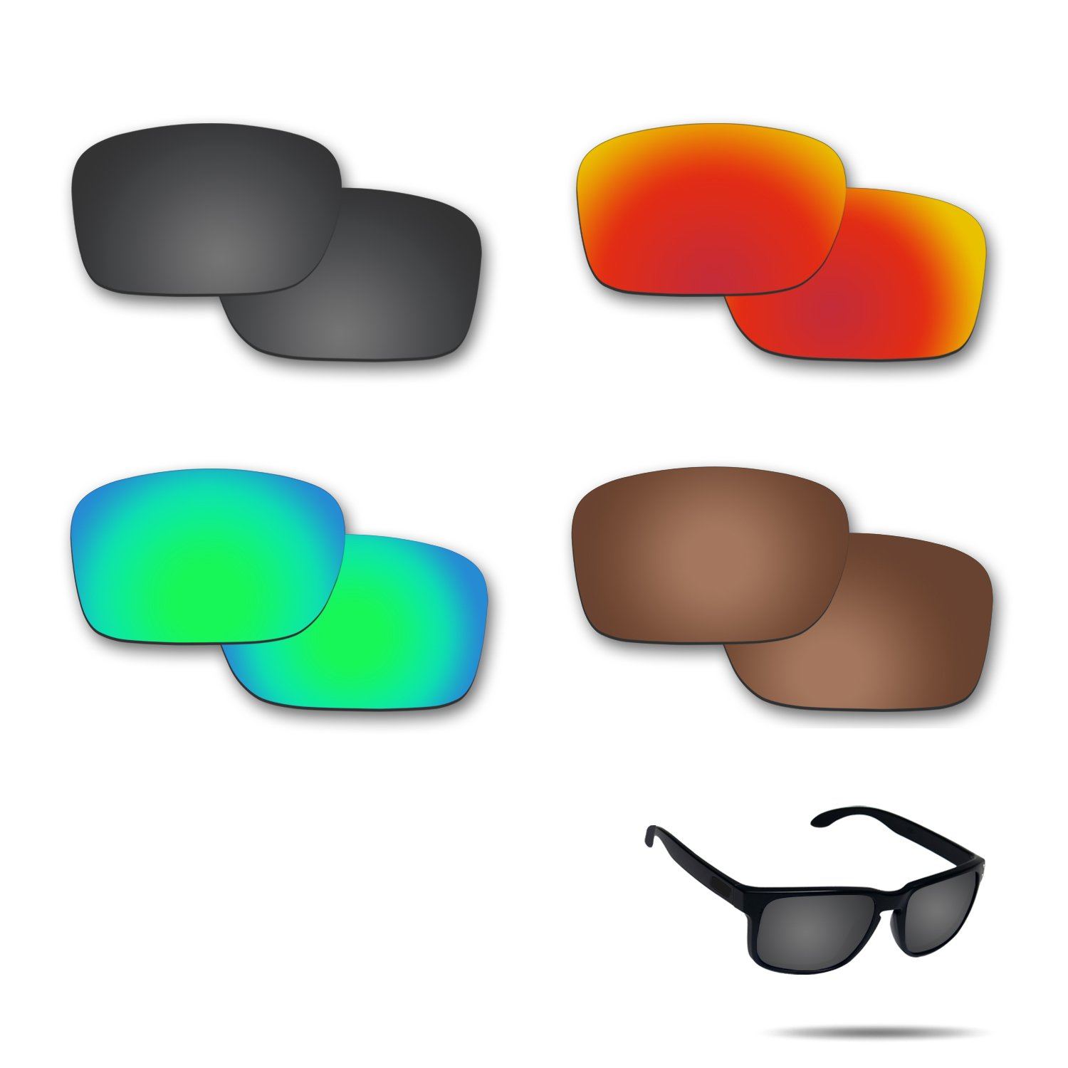 Fiskr Anti-saltwater Polarized Replacement Lenses for Oakley Holbrook Sunglasses 4 Pairs