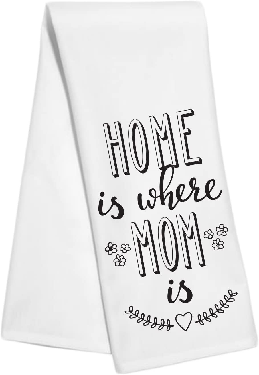 Party Explosions Home is Where Mom is Decorative Tea Towel