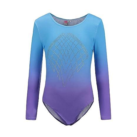 7f73504cdbc3 Sinoem Gymnastics Leotards for Girls Long Sleeve Gradient Color Sparkle Leotard  Dancing Ballet Gymnastics Athletic Leotards