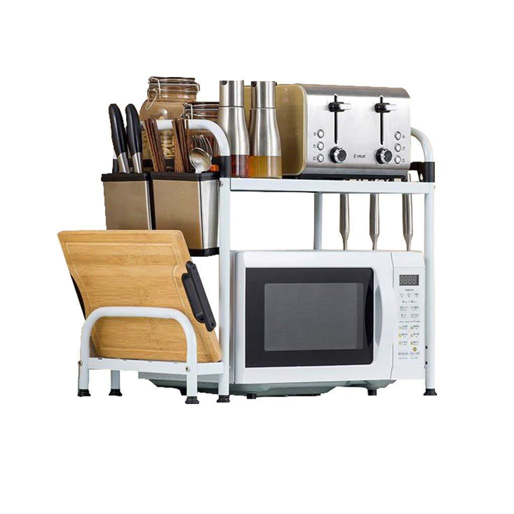 White Kitchen Microwave Oven Racks with 6 Hooks 2-Tier Tool Holder Chopstick Holder Cutting Board Shelves Spice Rack Bearing 40kg (53cm,60cm) (Size : 53cm)