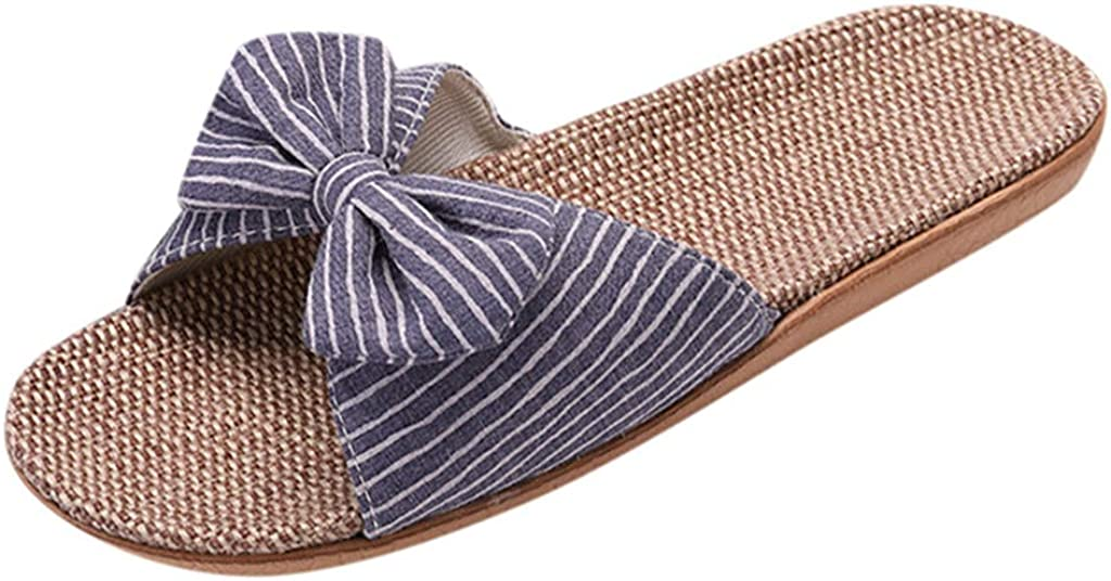 TUDUZ Zapatos De Playa Planos para Mujer Bohemias Pantuflas Lino Bowknot Playa Sandalias