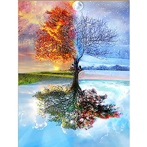 UPMALL DIY 5D Diamond Painting by Number Kits, Full Drill Crystal Rhinestone Embroidery Pictures Arts Craft for Home Wall Decoration Four Seasons Trees 15.75×11.81 inches