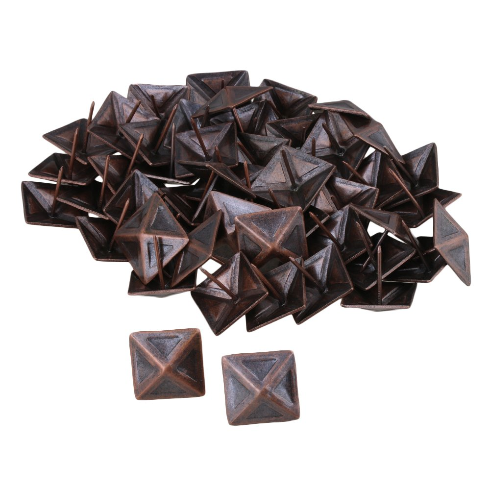 Mxfans 50x Vintage Upholstery Nails Red Bronze Tack 30x30mm Stud Furniture Hardware