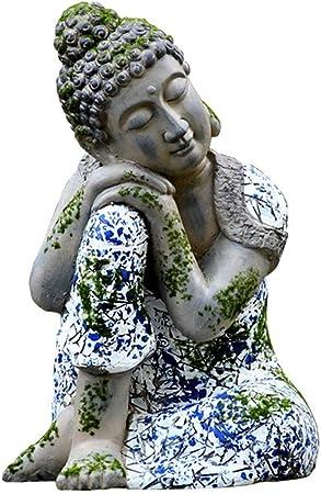 Garden Hermosa decoración Zen-como imitación azul Buda blanco decoración estilo chino óxido de magnesio Jardín Dormir Escultura de Buda para al aire libre (Color : Gris , tamaño : 31x29x46cm) : Amazon.es: Hogar