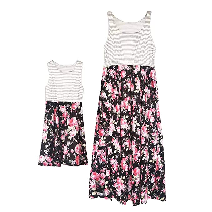 Mother Daughter Matching Floral Long Dress Mommy Me Family Sundress Party Outfit