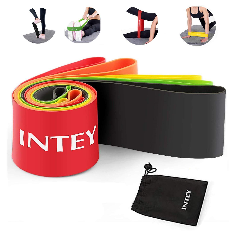 INTEY Bandas Elásticas Set de 5 Loop Resistance Bands Para Mejorar Fuerza Fitness Crossfit Pilates Ejercicios
