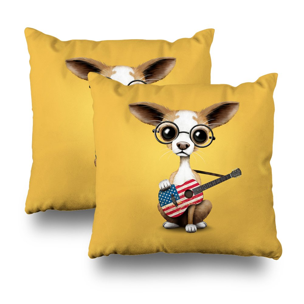 ONELZ Puppy Dog Playing Guitar Square Decorative Throw Pillow Case, Fashion Style Zippered Cushion Pillow Cover (18X18 inch,Set of 2)