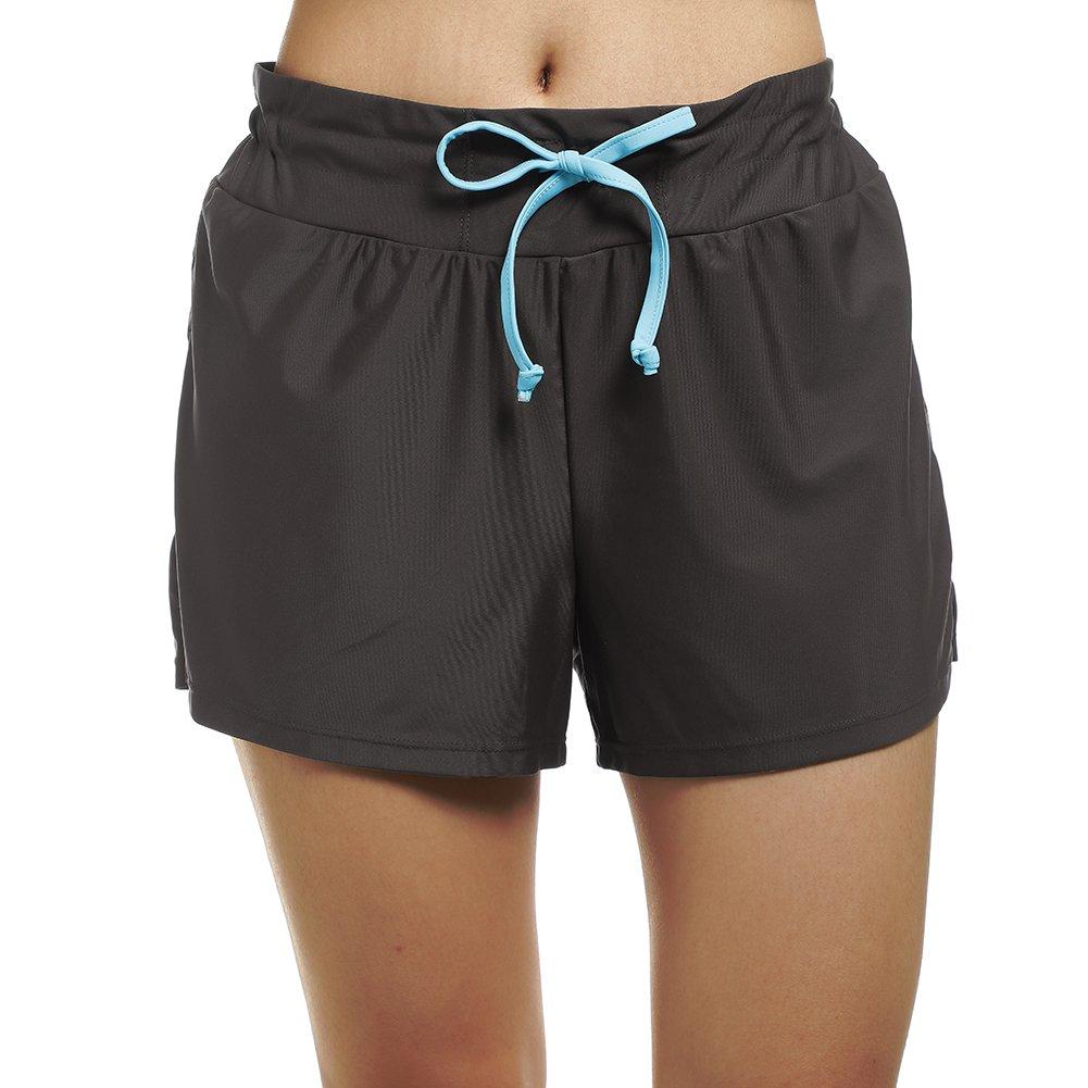 DUSISHIDAN Printed Wide Waistband Swim Shorts Trunks Boyshort Bottoms with Pockets