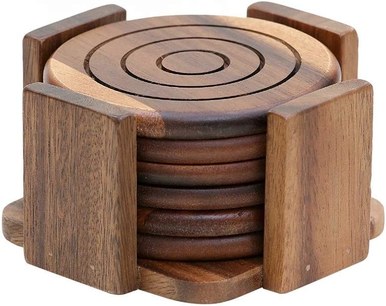 Artisan 6 Piece Round Acacia Wood Coaster Sets - Rustic Wood Coasters for Drinks - Drink Coaster Set - Coasters with Holder